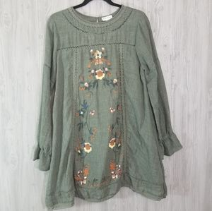 Umgee Long Sleeve Boho Embroidered Shift Dress L